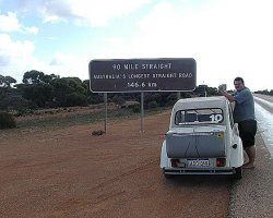 On entering the 90 Mile Straight, crossing the Nullarbor